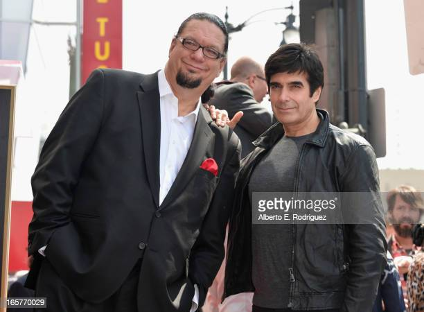 Magicians Penn Jillette and David Copperfield attend a ceremony honoring Penn Teller with the 2494th star on the Hollywood Walk of Fame on April 5...