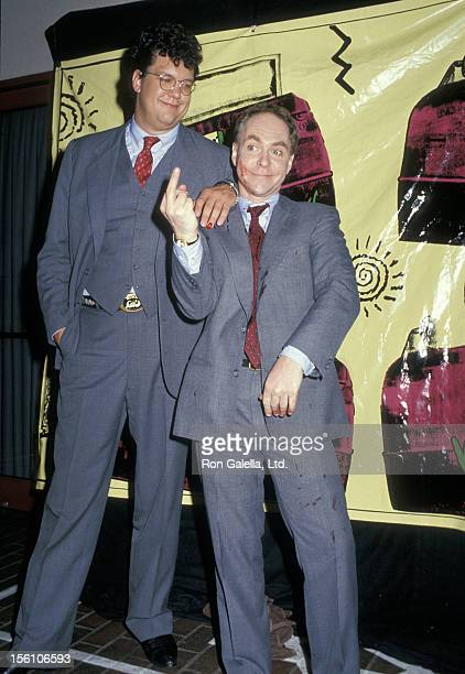 Magicians Penn Jillette and Raymond Teller attending Fifth Annual MTV Video Music Awards on September 7 1988 at the Universal Ampitheater in...