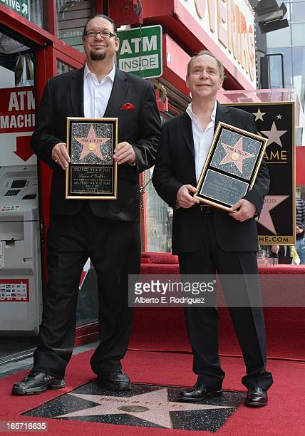 Magicians Penn Jillette and Teller attend a ceremony honoring Penn Teller with the 2494th star on the Hollywood Walk of Fame on April 5 2013 in...