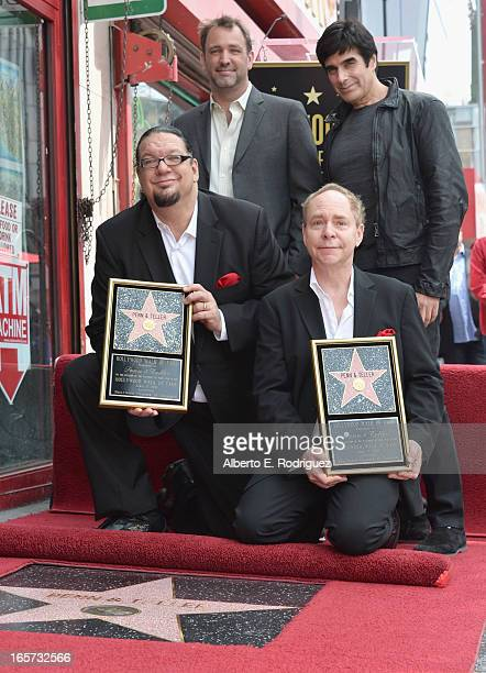 Magicians Penn Jillette and Teller writer Trey parker and magician David Copperfield attend a ceremony honoring Penn Teller with the 2494th star on...