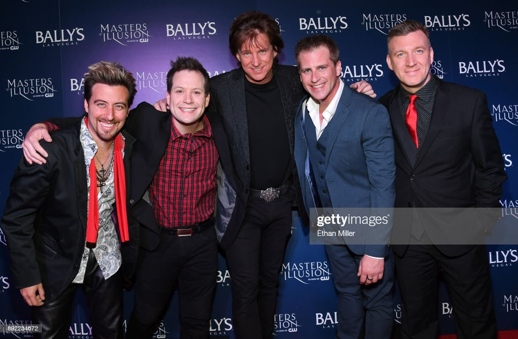 Magicians Tommy Wind, Farrell Dillon, Greg Gleason, Jason Bird and Chris Randall attend the opening night of 'Masters of Illusion' at Bally's Las Vegas on December 13, 2017 in Las Vegas, Nevada.