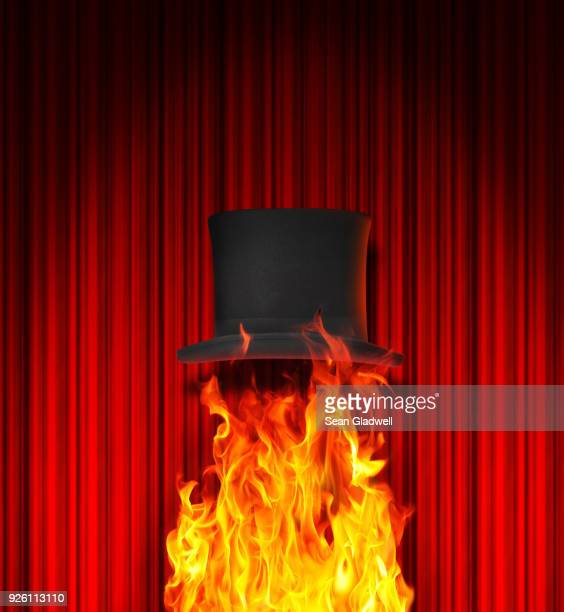 Magician's top hat and fire