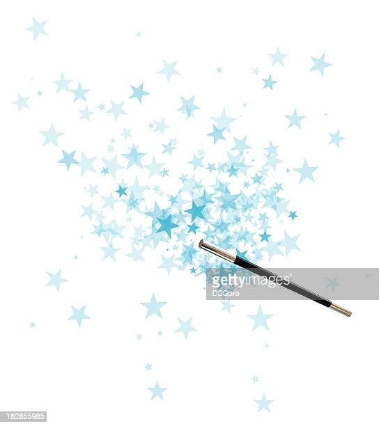 Magician's wand over a background of blue stars