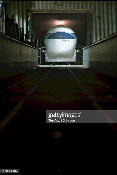 Maglev Test Train MLU002N is seen at the Railway Technical Research Institute in June 2004 in Hyuga Miyazaki Japan
