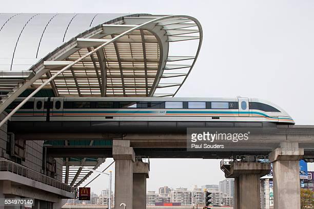Maglev train arriving at station