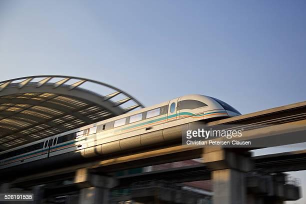 Maglev train leaving station