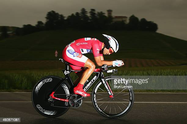 Maglia Rossa wearer and leader of the points classification Nacer Bouhanni of France and FDJ.fr in action during the twelfth stage of the 2014 Giro...