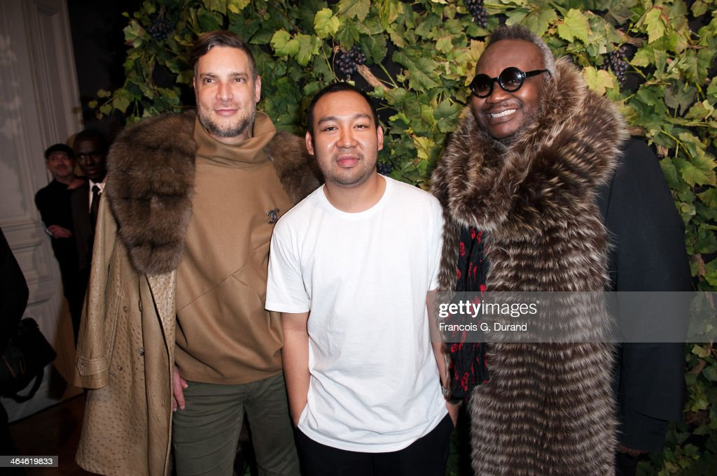 Magloire, Fashion designer Didit Hediprasetyo and Cameron Silver attend the Didit show as part of Paris Fashion Week Haute Couture Spring/Summer 2014 on January 23, 2014 in Paris, France.