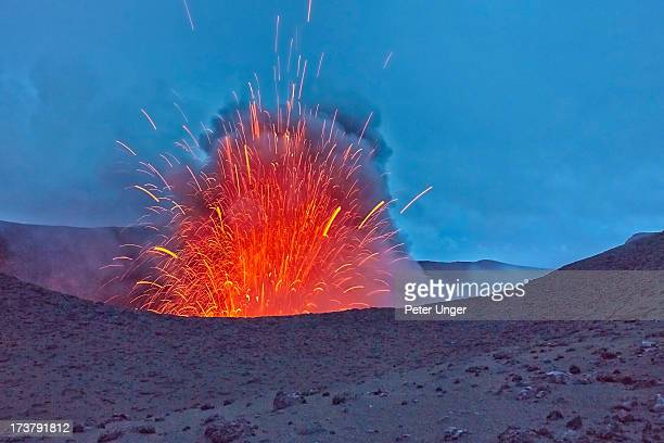 magma erupting mt yasur - active volcano stock pictures, royalty-free photos & images