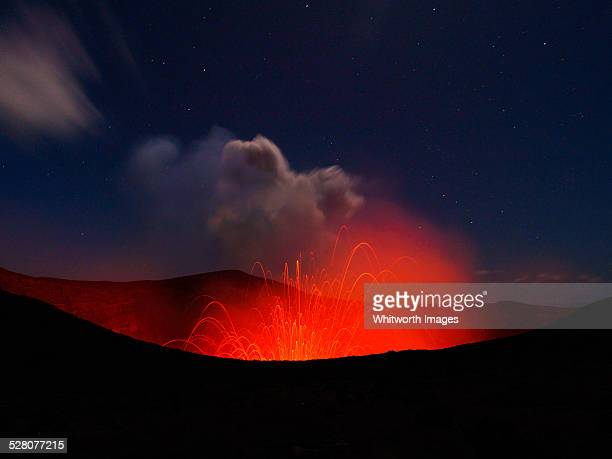 magma erupts from the crater of the active mt yasu - active volcano stock pictures, royalty-free photos & images