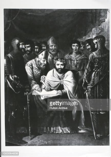 Magna Carta, King John of England, signing the Magna Carta at Runnymede near Windsor, Runnymede.