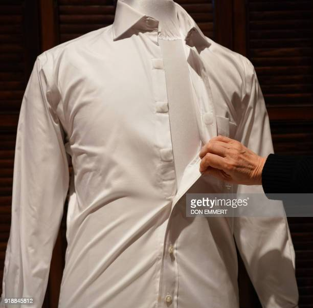 A MagnaReady magnetic shirt is displayed as part of the AccessAbility exhibit at the Cooper Hewitt Smithsonian Design Museum February 8 2018 in New...