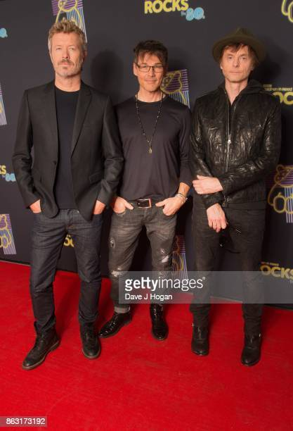 Magne Furuholmen, Morten Harket, and Paul Waaktaar-Savoy of a-ha are pictured at BBC Children in Need Rocks the 80s at SSE Arena on October 19, 2017...