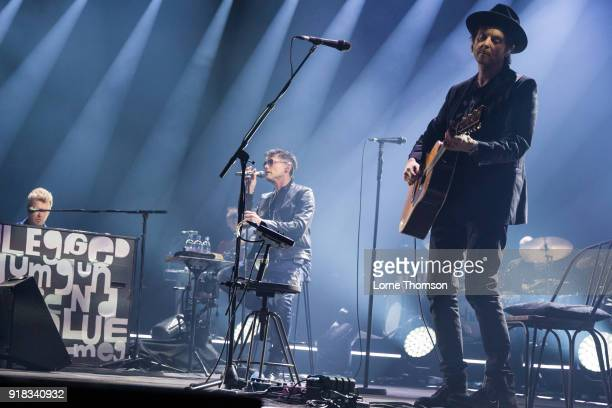 Magne Furuholmen Morten Harket and Paul WaaktaarSavoy of Aha perform at The O2 Arena on February 14 2018 in London England
