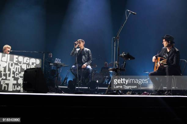 Magne Furuholmen Morten Harket and Paul WaaktaarSavoy of Aha perform at The O2 Arena on February 14 2018 in London England