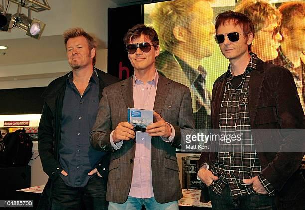 Magne Furuholmen Morten Harket and Paul WaaktaarSavoy of AHa promote their new album '25The Very Best Of AHa' at HMV Oxford Street on October 6 2010...