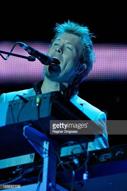 Magne Furuholmen of Aha performs during their world tour before retiring at the end of the year at Ullevaal Stadion on August 21 2010 in Oslo Norway