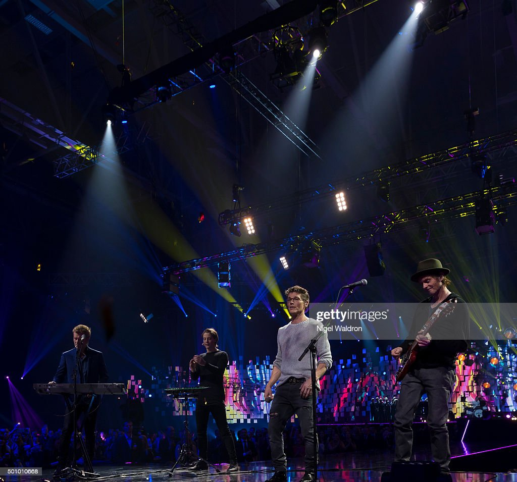 Magne Furuholmen of Norway, Kygo of Norway, Morten Harket of Norway and Paul Waaktaar-Sav of Norway perform on stage during the Nobel Peace Prize concert at Telenor Area on December 11, 2015 in Oslo, Norway. The Nobel Peace Concert is hosted by Jay Leno to honour this year's Nobel Peace Prize winners the National Dialogue Quarter members Houcine Abbassi, Secretary General of the Tunisian General Labour Union, Mohamed Fadhel Mahmoud, President of the National Bar Association of Tunisian and Abdessattar Ben Moussa, President of the Tunisian Human Rights, and Wided Bouchamaoui, President of the Tunisian Human Rights League on December 11, 2015 in Oslo, Norway.