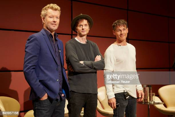 Magne Furuholmen Pal WaaktaarSavoy and Morten Harket of Aha attends a press conference at Nordische Botschaften on September 12 2017 in Berlin Germany