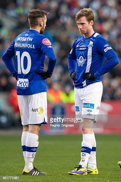 Magne Hoseth and Jo Inge Berget of Molde FK in action during the Norwegian Cup Final match between Molde FK and Rosenborg BK at Ullevaal Stadion on...