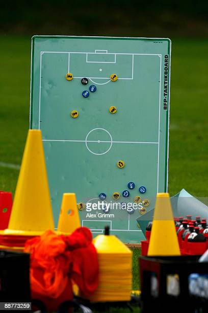 Magnetic board shows the tactical lineup during a training session of 1899 Hoffenheim during a training camp on July 1, 2009 in Stahlhofen am...