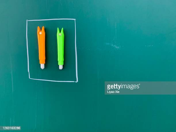 magnetic chalk on board - liyao xie stock pictures, royalty-free photos & images