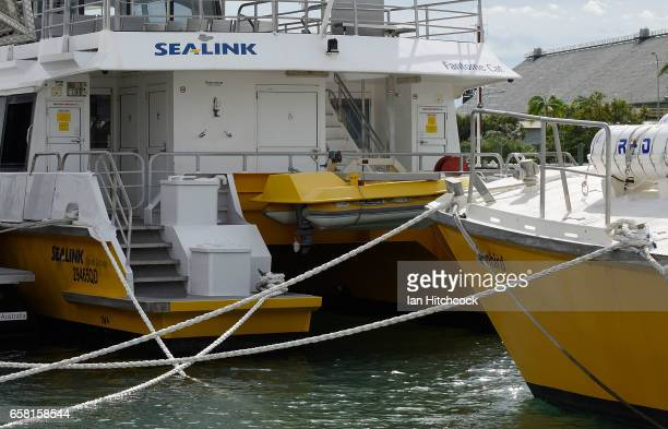 Magnetic Island boat ferries are seen secured with 'Cyclone ropes' at the Magnetic Island ferry terminal for protection in preparation for Cyclone...