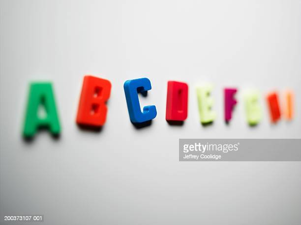 Magnetic letters on board, close-up