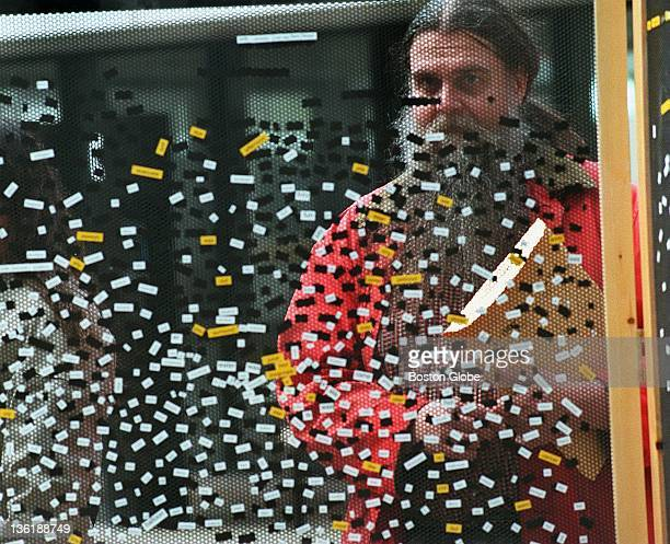 Magnetic poetry wall project on display in Kendall Square Glenn Holm from Boston checks out some poetry in connection with Cambridge Arts Council