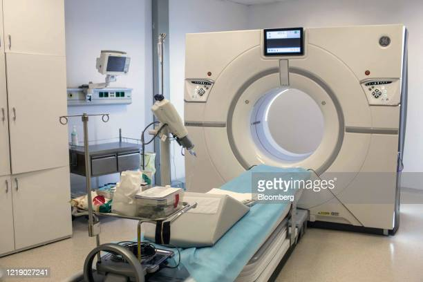 A magnetic resonance imaging scanner machine sits in a room at the Vinmec Times City International Hospital operated by Vinmec International General...