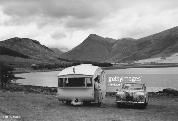 Magnette with 1954 Pipit Caravan. Creator: Unknown.