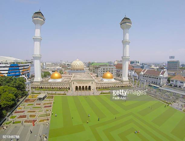 Magnificent Grand Mosque of Bandung, West Java with its synthetic playground field