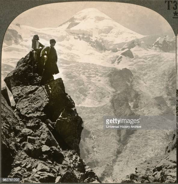 Magnificent Heights of Mount Kasbek , Caucasus Mountains, Russia, Single Image of Stereo Card, Keystone View Company, early 1900's.