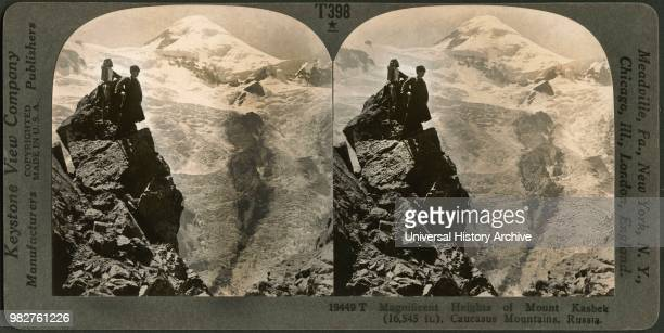 Magnificent Heights of Mount Kasbek , Caucasus Mountains, Russia, Stereo Card, Keystone View Company, early 1900's.