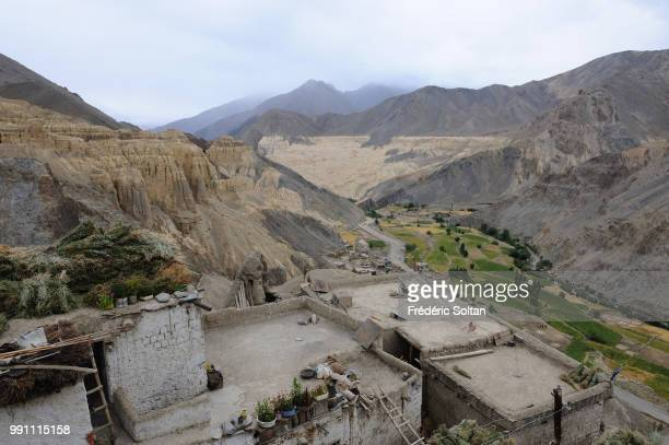 Magnificent landscape and scenic view in Ladakh Lamayuru Monastery another Buddhist gompa stands at the height of 3800 meters Jammu and Kashmir on...