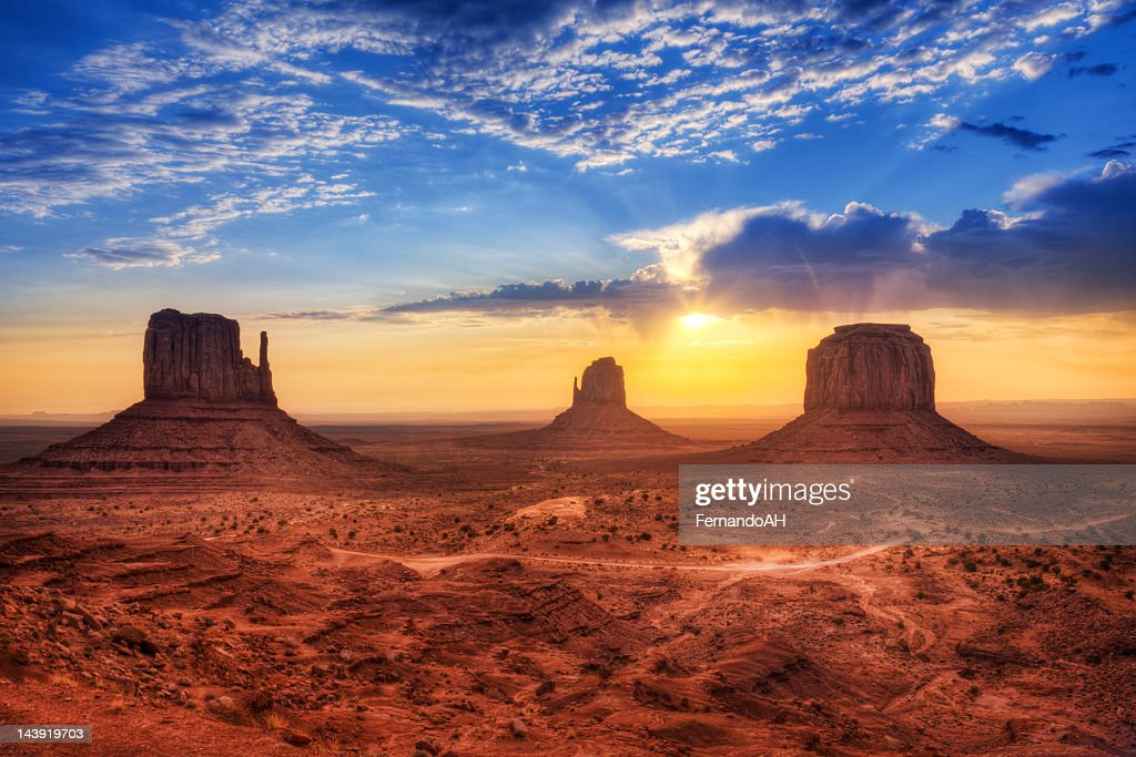 Magnificent landscape view of Monument Valley at sunset : Stock Photo