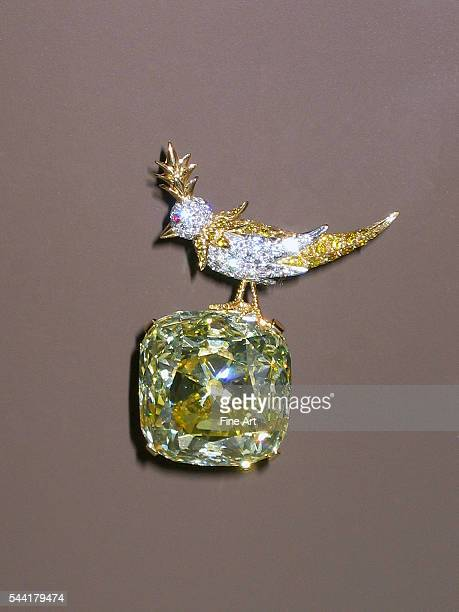 Magnificent large yellow diamond pin held by a bird in gold and diamonds with a ruby eye Manufacture of Tiffany Studios 20th century Private...