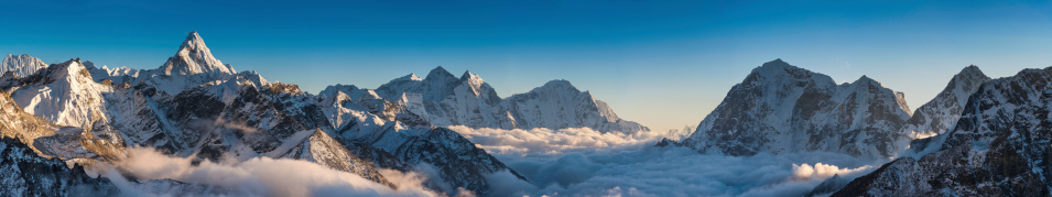 Magnificent mountain panorama snowy peaks high above clouds Himalayas Nepal 482857481