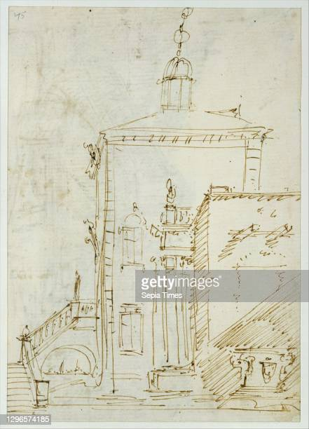 Magnificent Pavilion by the Lagoon ; The Grand Canal, with the Rialto Bridge from the South , ca 1727-29, Pen and brown ink, over traces of graphite,...