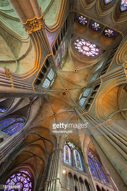 magnificent perspective of reims notre-dame cathedral vault, france - reims cathedral stock pictures, royalty-free photos & images