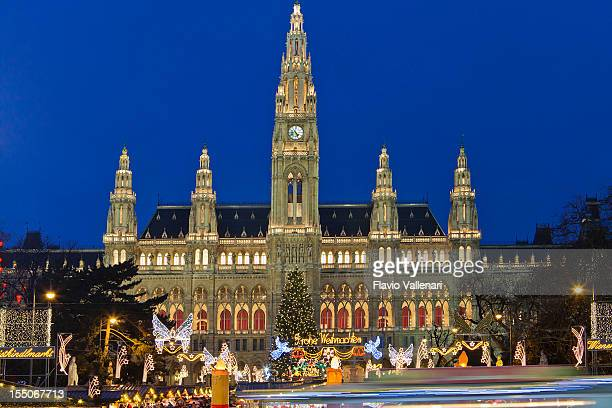 Magnificent Vienna City Hall at night during Christmas