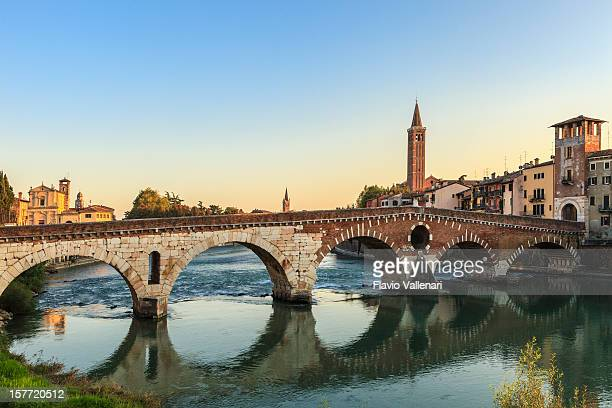 Magnificent view of Ponte Pietra of Verona at sunrise