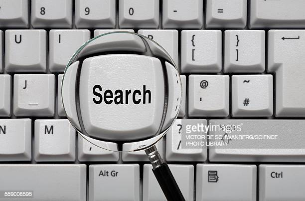 Magnifying glass and search key