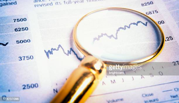 Magnifying glass on financial charts