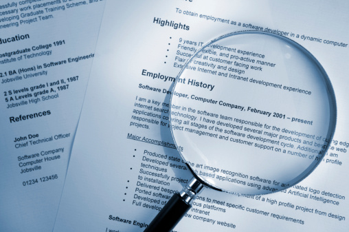 Magnifying Glass on Resume 157307281