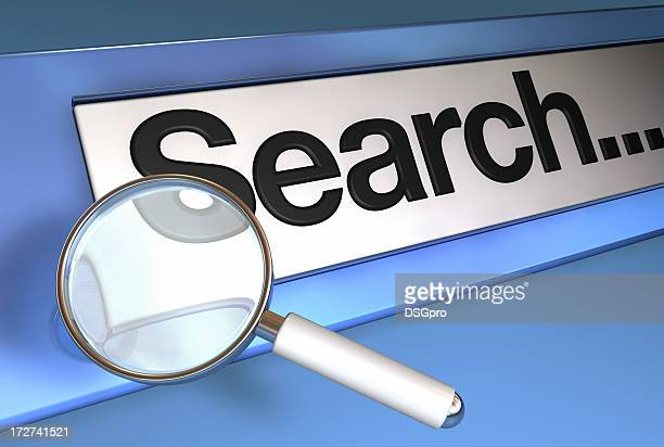 Magnifying glass on website search bar