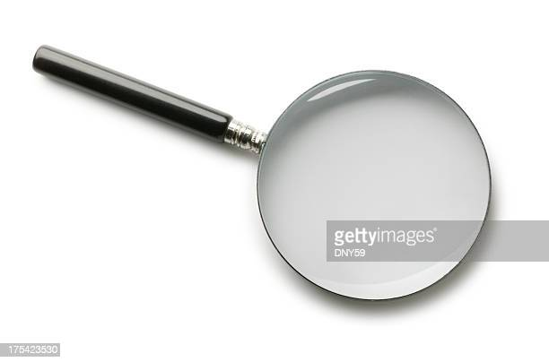 magnifying glass on white background - magnifying glass stock pictures, royalty-free photos & images