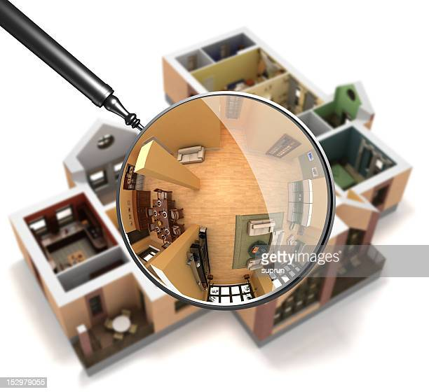 Magnifying glass over interior