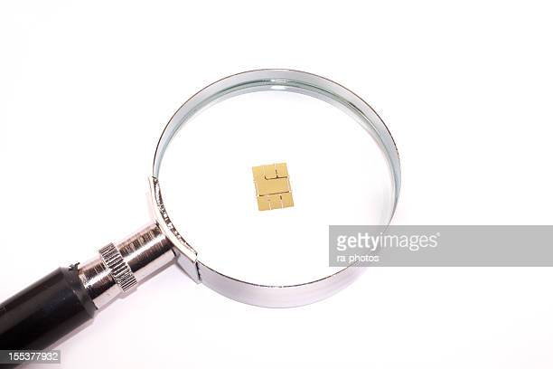 Magnifying Glass with nano SIM card