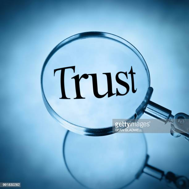 magnifying glass with the word trust magnified - honesty stock pictures, royalty-free photos & images